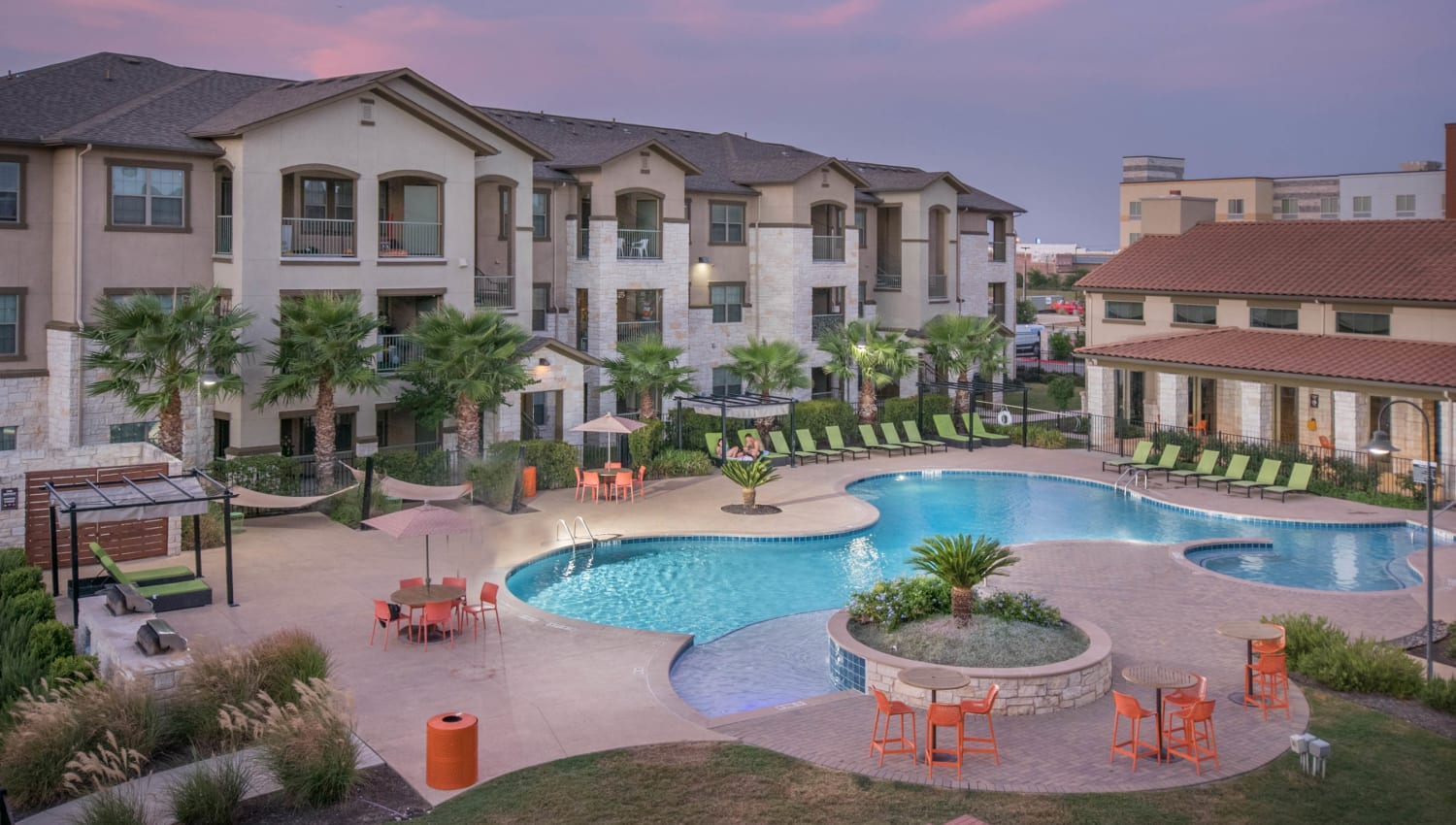Early morning view of the pool area at Carrington Oaks in Buda, Texas