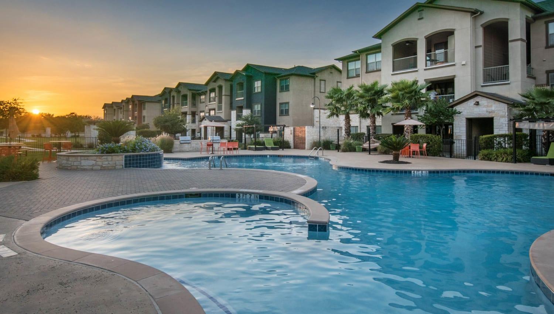 Peaceful sunrise from the swimming pool at Carrington Oaks in Buda, Texas