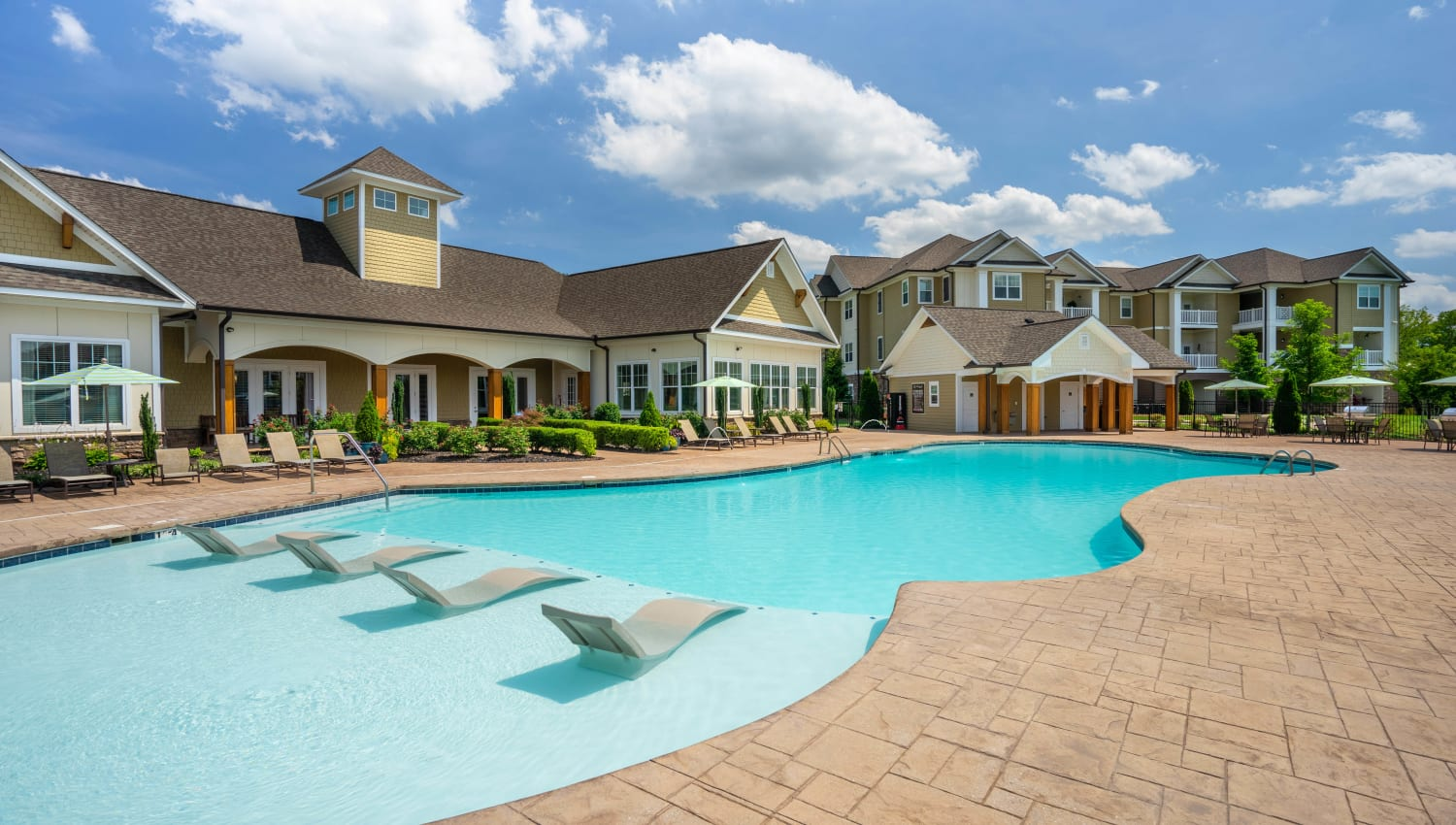 Sun deck in the pool at Legends at White Oak in Ooltewah, Tennessee