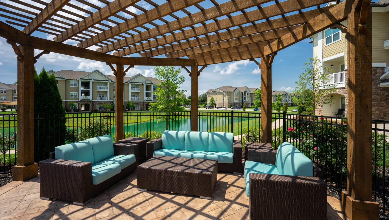 Pergola over one of the lounge areas at Legends at White Oak in Ooltewah, Tennessee