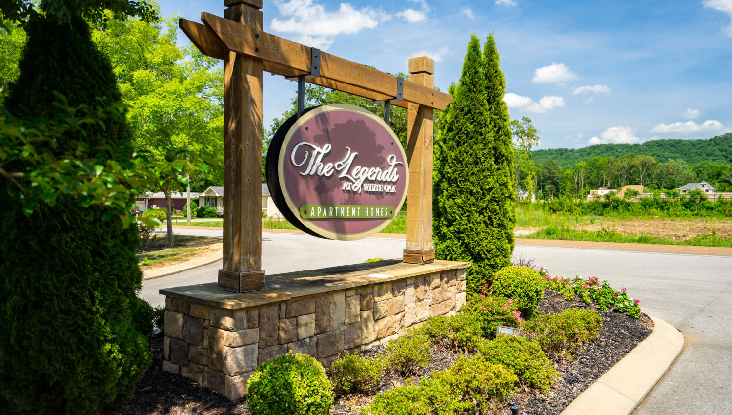 Our sign welcoming residents and guests to Legends at White Oak in Ooltewah, Tennessee