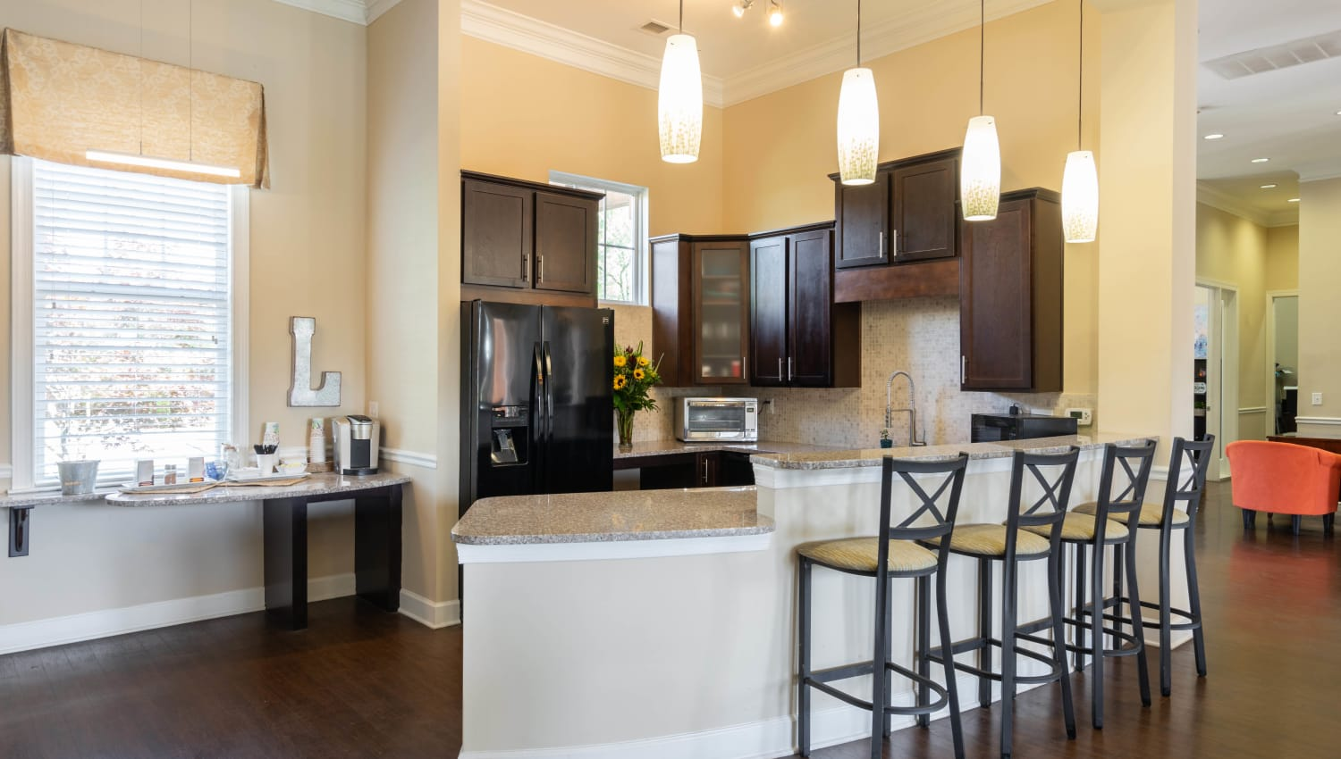 Demonstration kitchen in the clubhouse at Legends at White Oak in Ooltewah, Tennessee