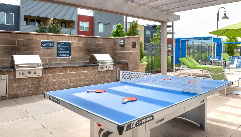 Ping pong table near the barbecue area at Olympus at Daybreak in South Jordan, Utah