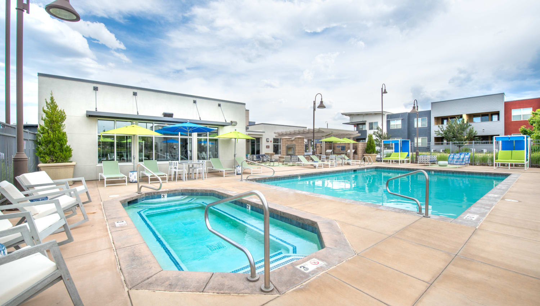 Spa and pool on a peaceful day at Olympus at Daybreak in South Jordan, Utah