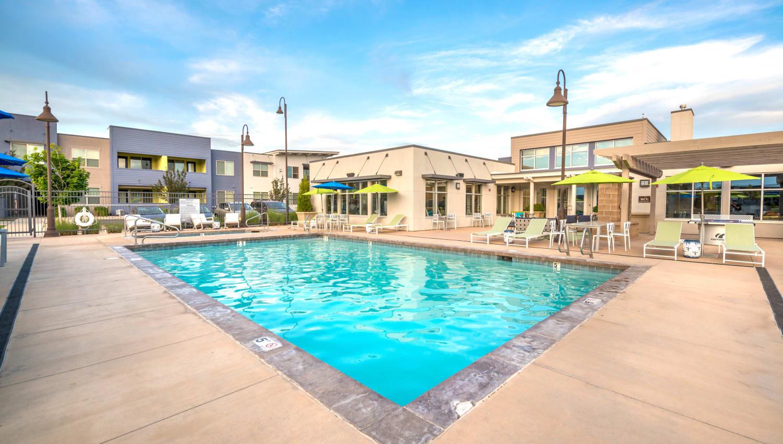 Inviting swimming pool at Olympus at Daybreak in South Jordan, Utah
