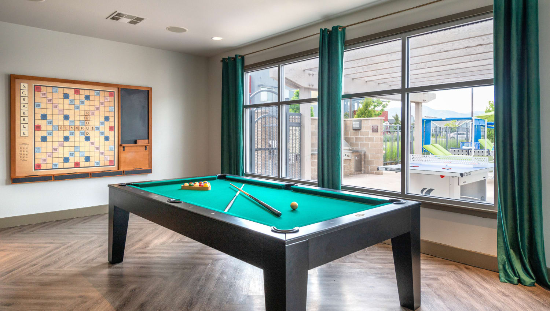 Billiards table in the clubhouse's game room at Olympus at Daybreak in South Jordan, Utah