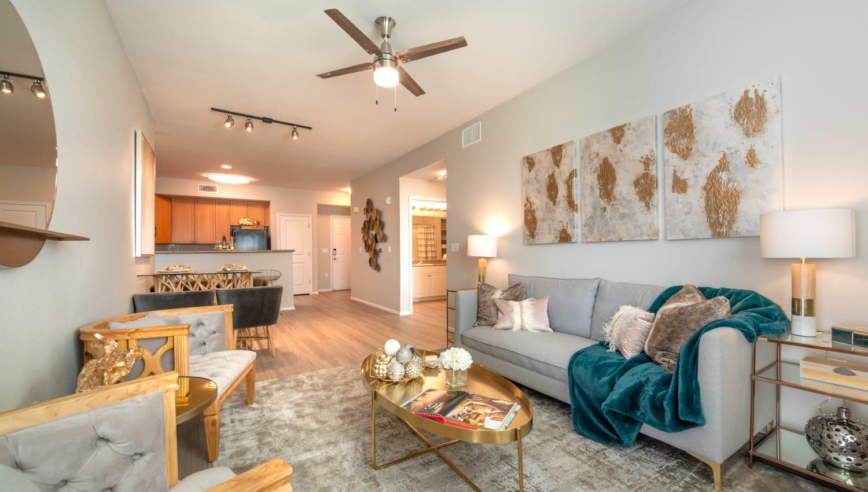 Spacious open-concept floor plan in a model apartment at Olympus at Daybreak in South Jordan, Utah