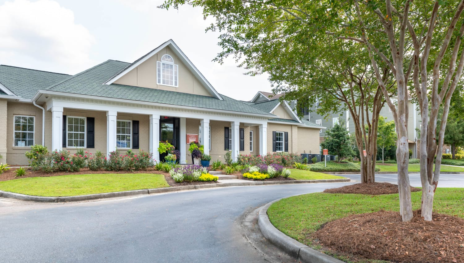 Well-maintained landscaping along the driveway leading to the leasing office at Olympus Carrington in Pooler, Georgia