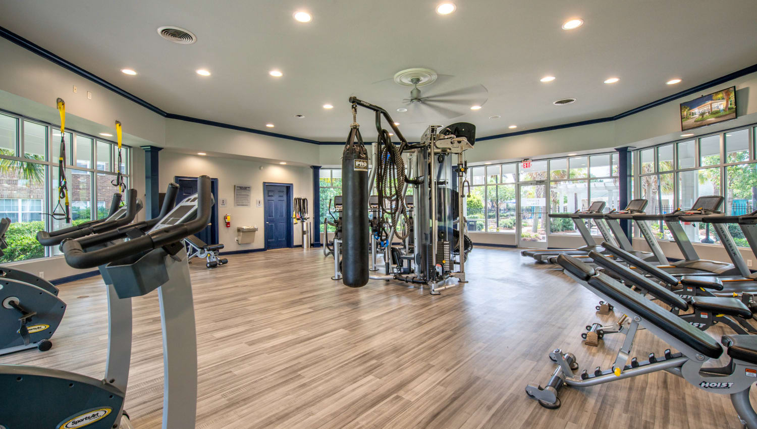 Cardio machines and exercise equipment in the fitness center at Olympus Carrington in Pooler, Georgia