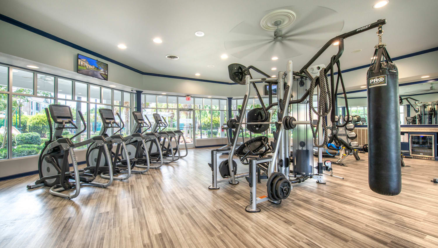 Ample equipment in the fitness center at Olympus Carrington in Pooler, Georgia