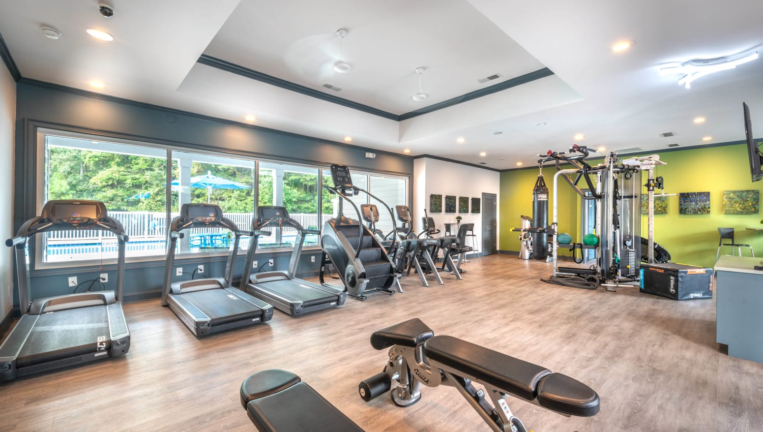 Treadmills and more in the onsite fitness center at Olympus Fenwick in Savannah, Georgia