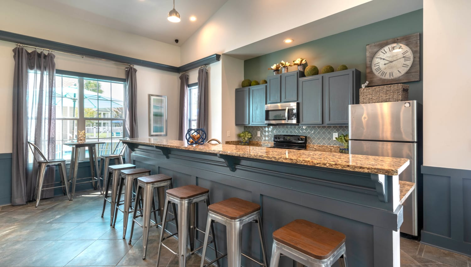 Bar seating at the demonstration kitchen in the clubhouse at Olympus Fenwick in Savannah, Georgia