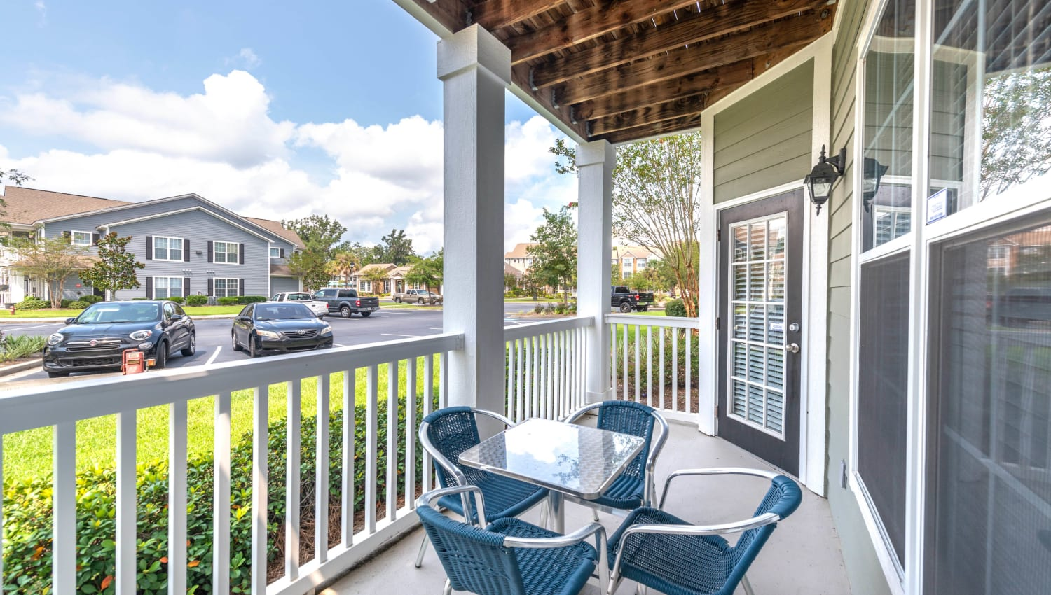 Large private balcony outside a model home at Olympus Fenwick in Savannah, Georgia