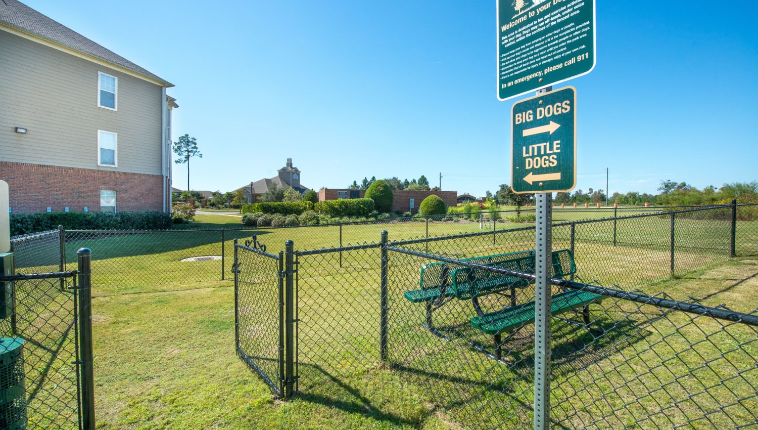 Onsite doggie park at Odyssey Lake in Brunswick, Georgia