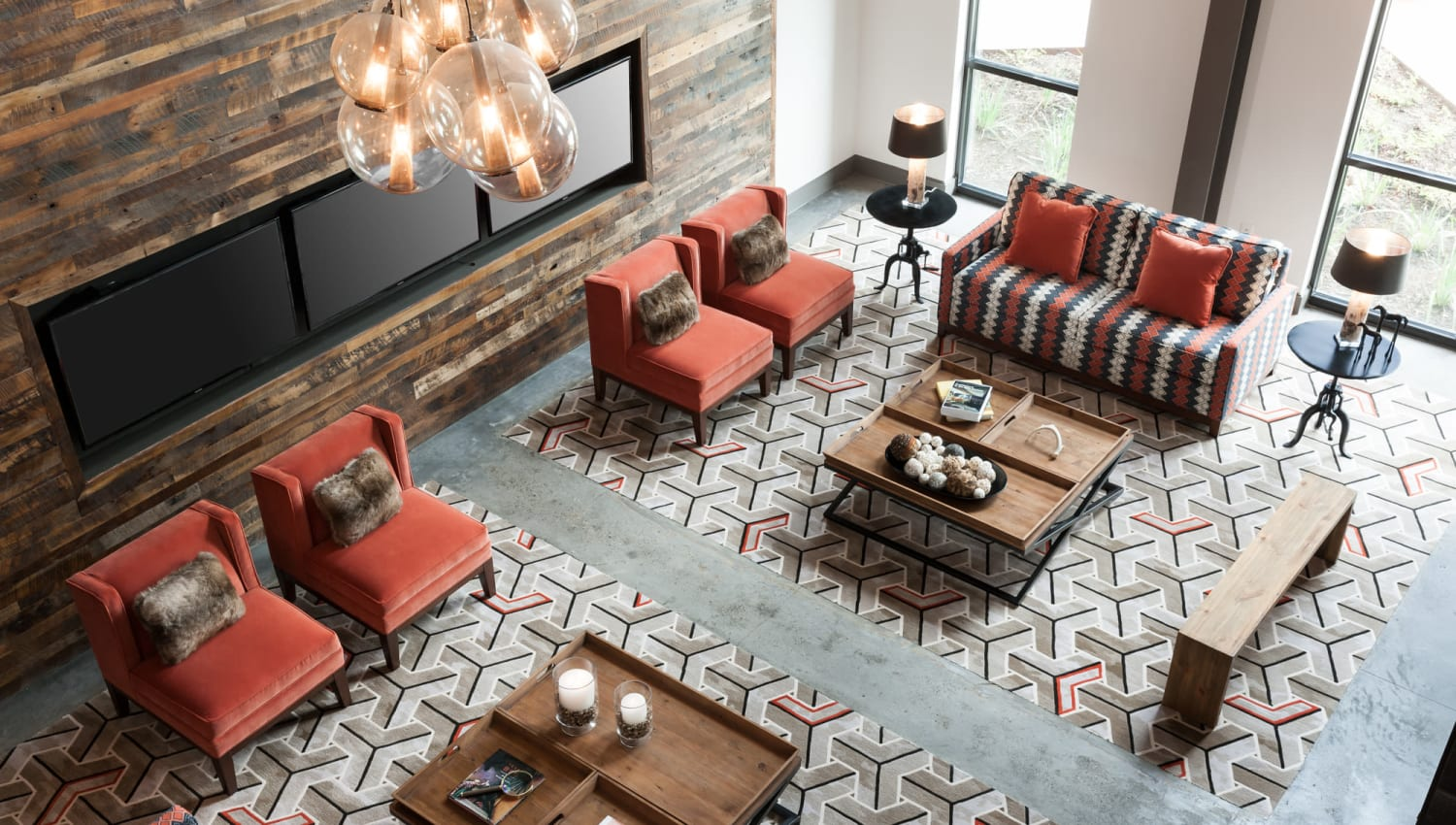 Elegant sofas and arm chairs in clubhouse of Olympus Auburn Lakes in Spring, Texas