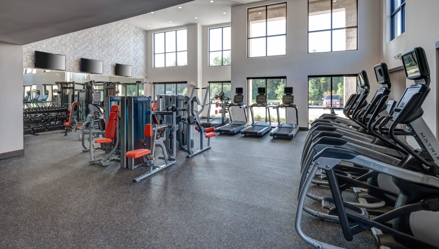Athletic fitness center with yoga and crossfit rooms at Olympus Auburn Lakes in Spring, Texas