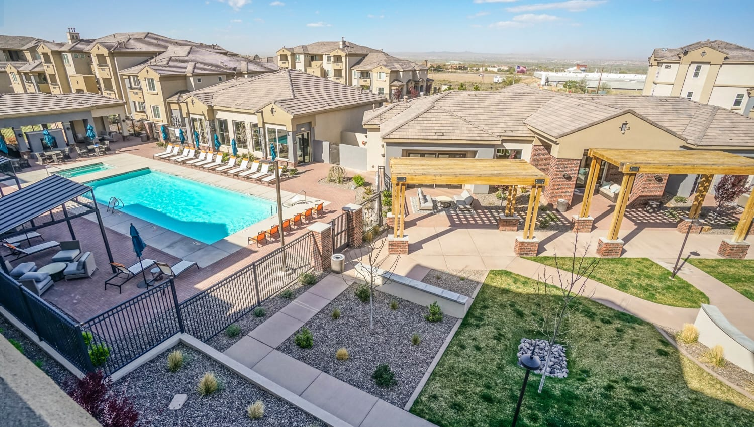 Low aerial view of the community at Olympus Northpoint in Albuquerque, New Mexico