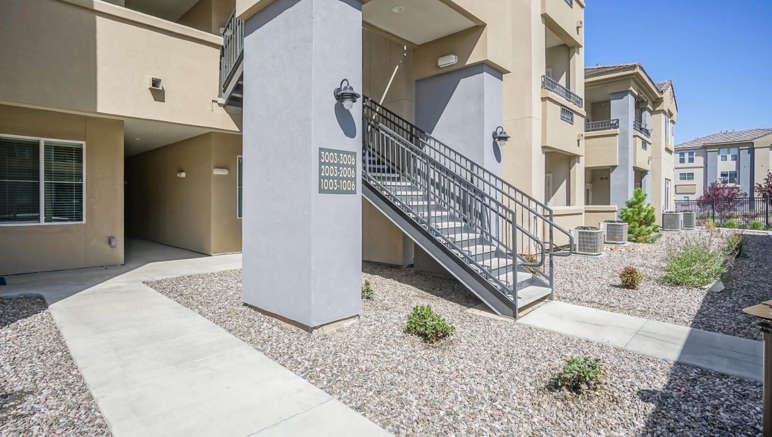 Exterior view of resident buildings at Olympus Northpoint in Albuquerque, New Mexico
