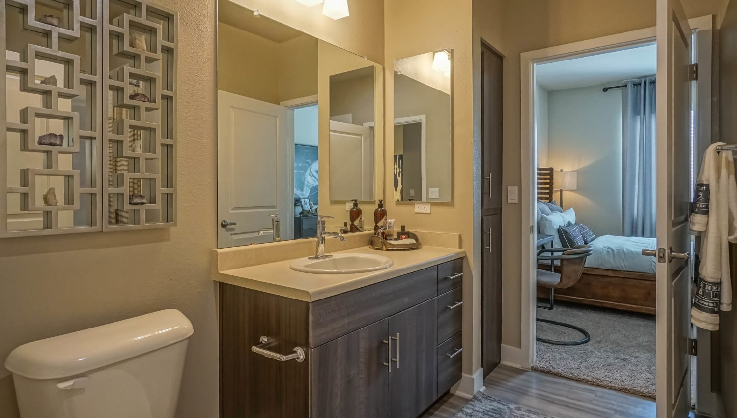 Large vanity mirror in the master bathroom of a model home at Olympus Northpoint in Albuquerque, New Mexico