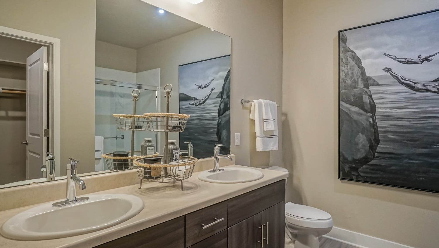 Quartz countertop in a model apartment's bathroom at Olympus Northpoint in Albuquerque, New Mexico