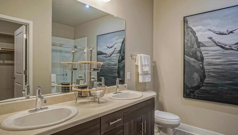 Quartz countertop in a model apartment's bathroom at Olympus Northpoint in Albuquerque, New Mexico