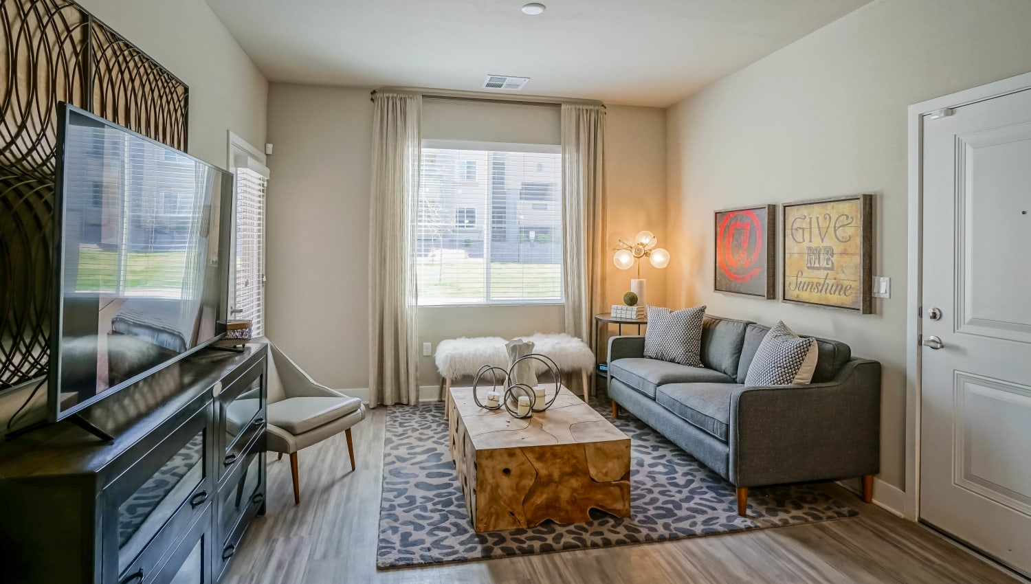 Comfortably decorated living space in a model apartment at Olympus Northpoint in Albuquerque, New Mexico