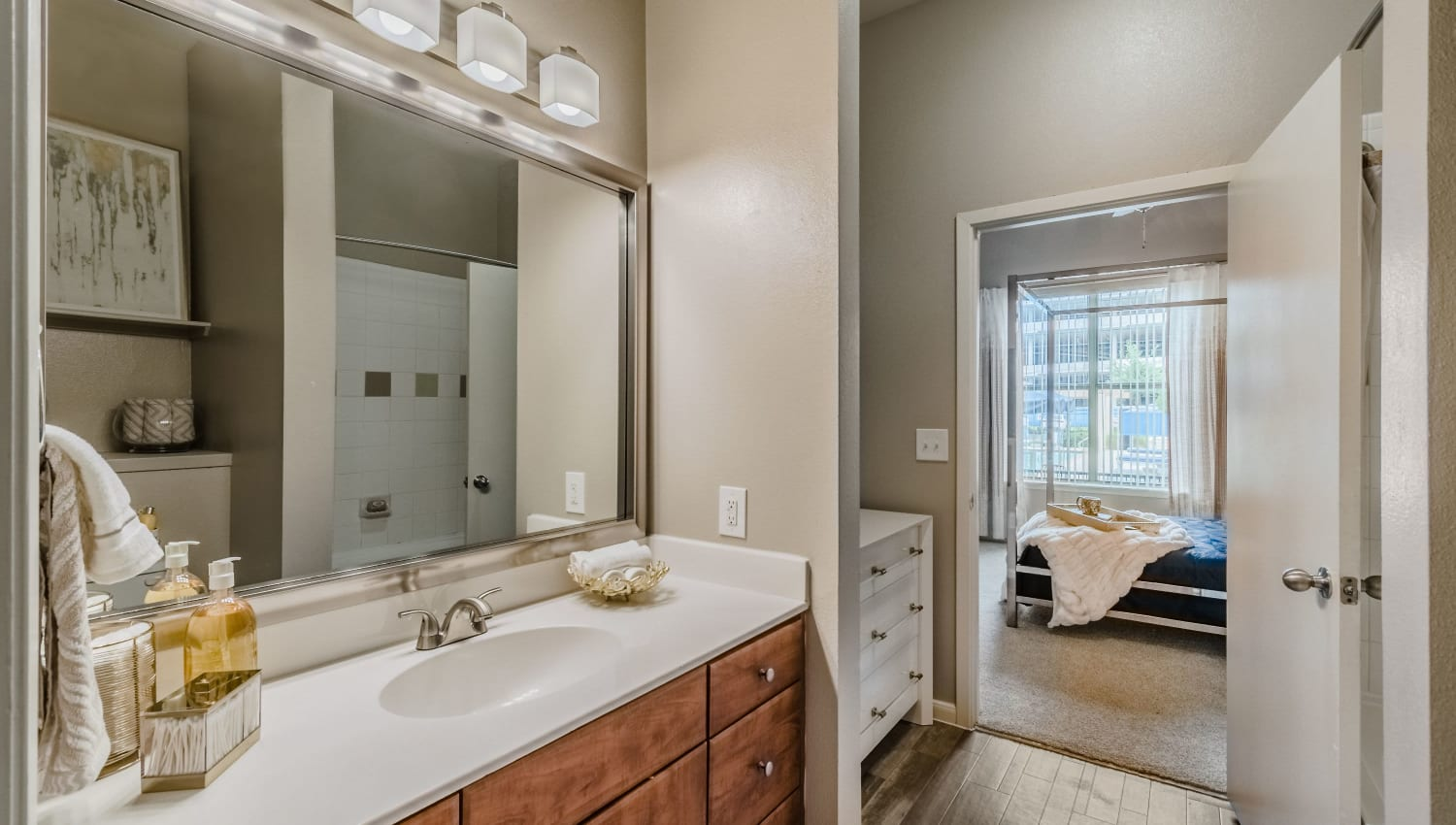 Spacious and elegant bathroom at Olympus Boulevard in Frisco, Texas