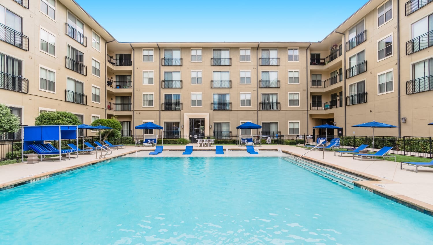 Resort-style pool at Olympus Boulevard in Frisco, Texas