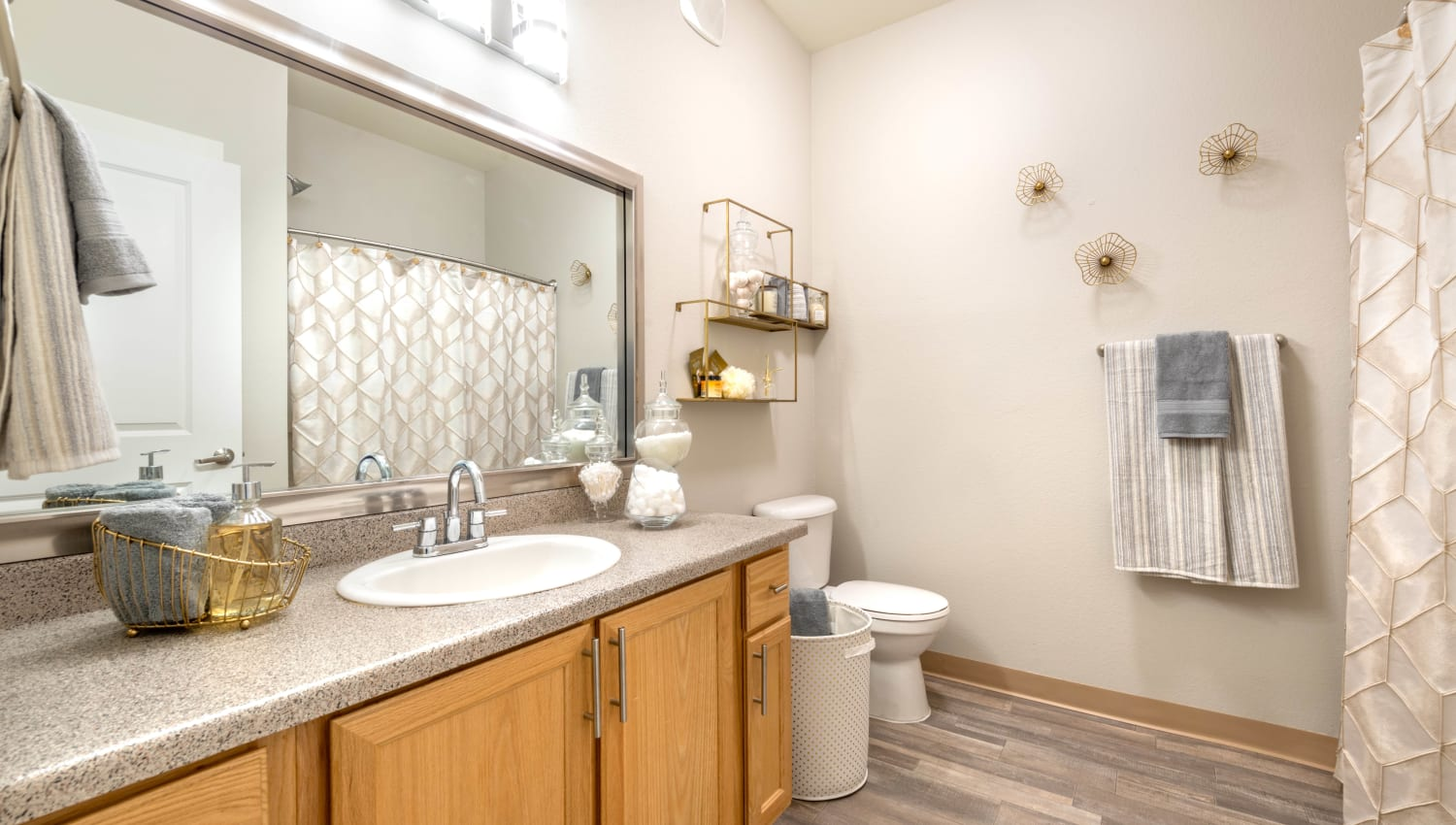 Quartz countertop in a model apartment's bathroom at Olympus Solaire in Albuquerque, New Mexico