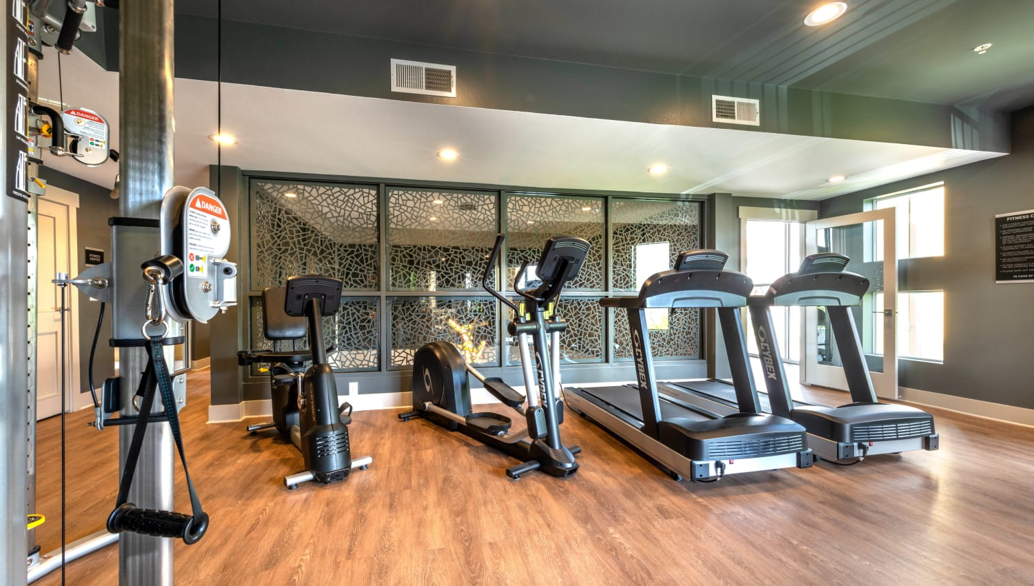 Large variety of cardio machines in the fitness center at Olympus Solaire in Albuquerque, New Mexico