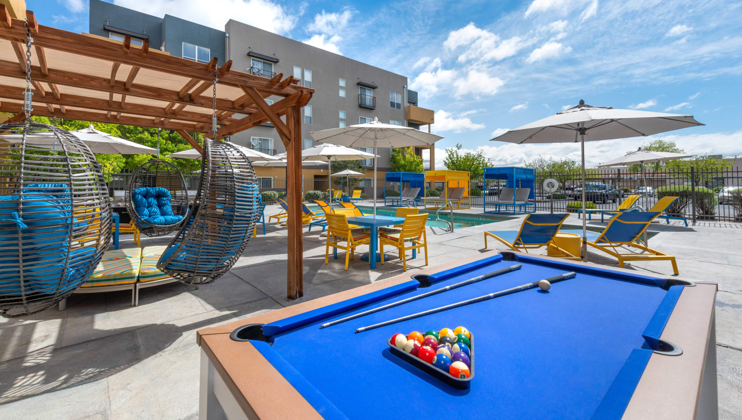 Billiards table at the outdoor lounge at Olympus Solaire in Albuquerque, New Mexico