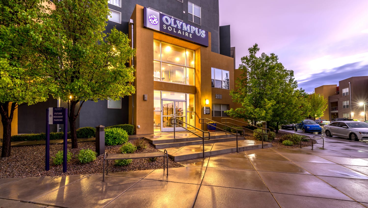 Early evening view of the leasing center exterior at Olympus Solaire in Albuquerque, New Mexico