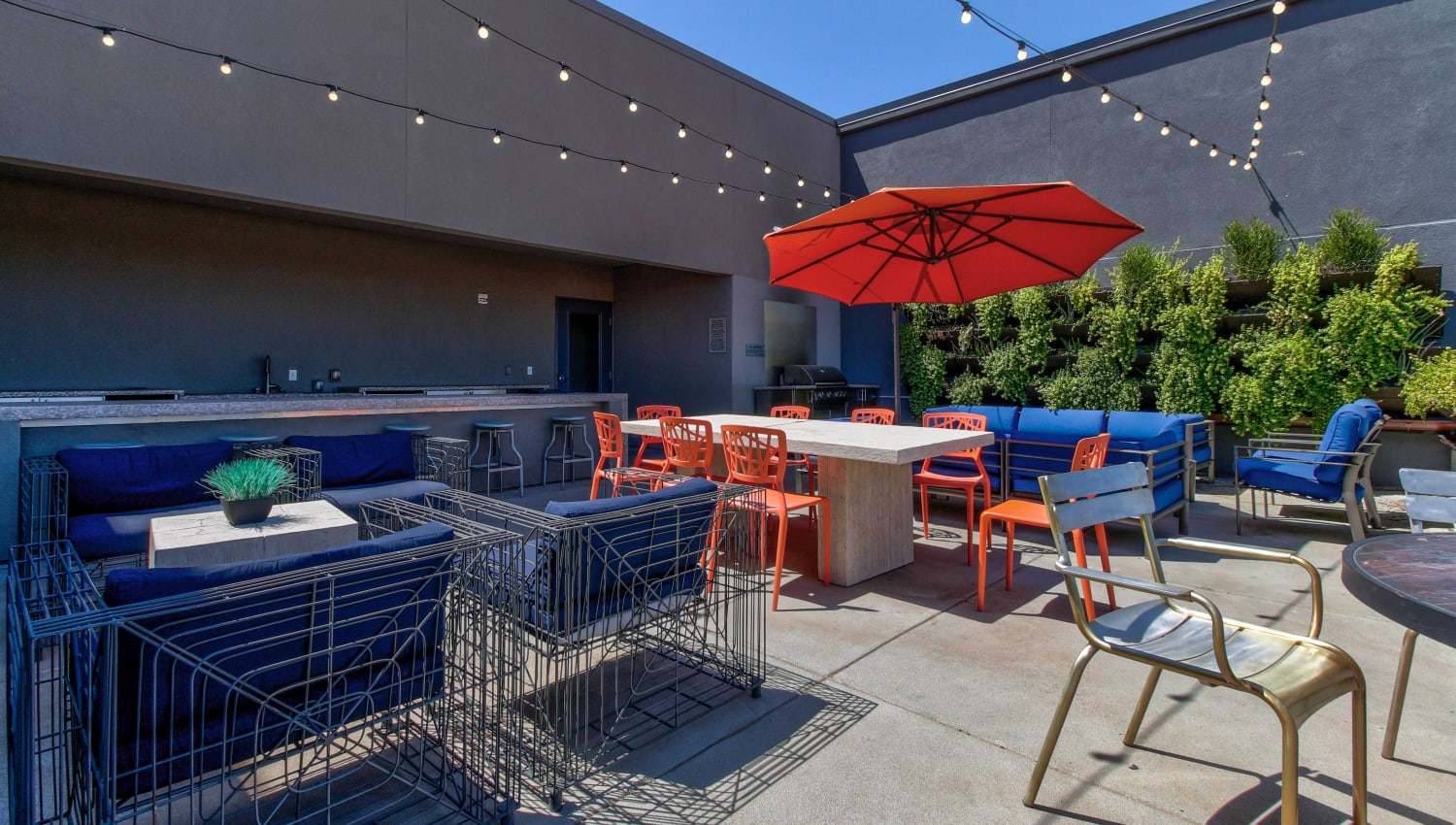 Outside lounge area at Olympus Steelyard in Chandler, Arizona