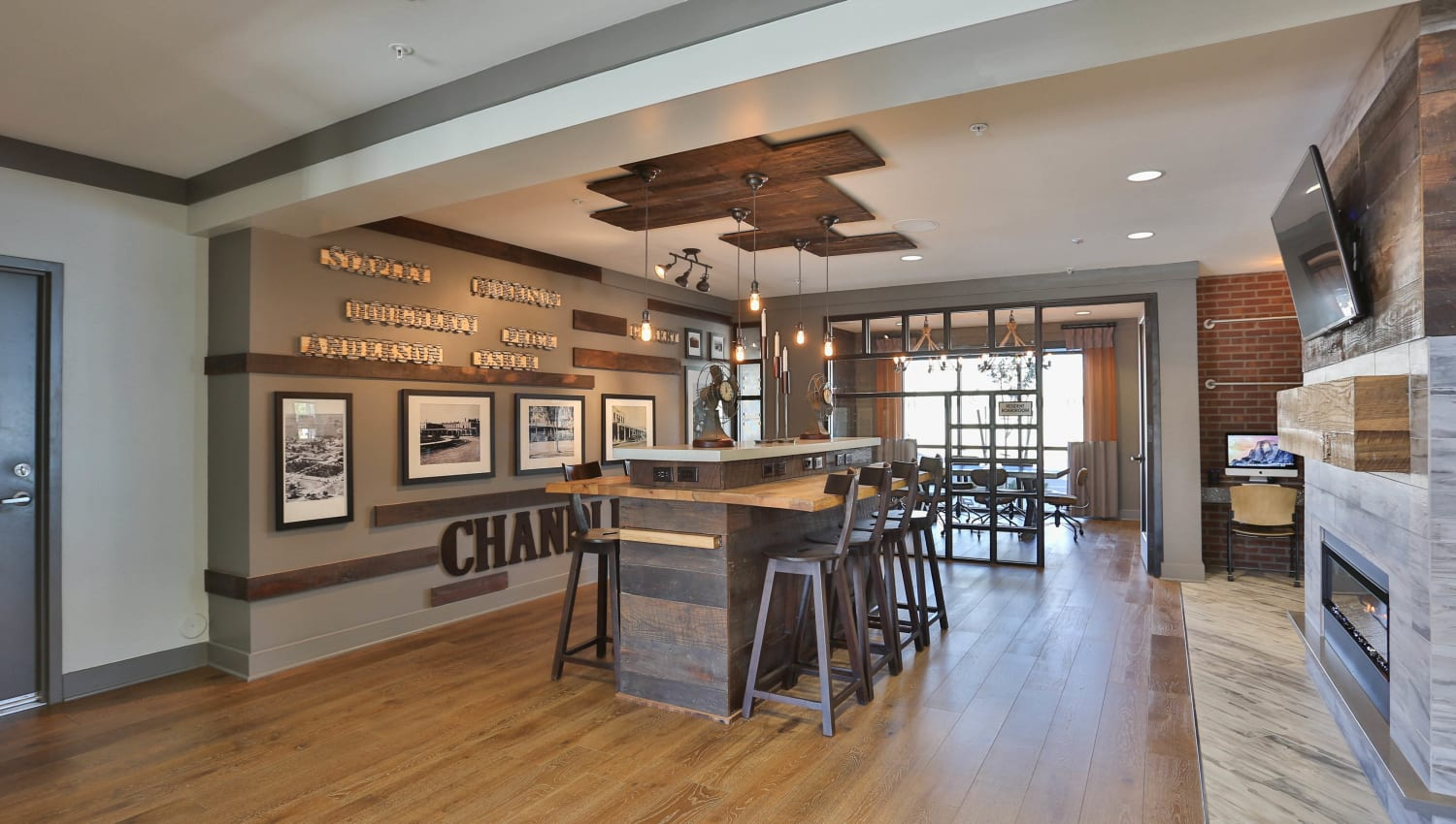 Gathering table in the clubhouse at Olympus Steelyard in Chandler, Arizona