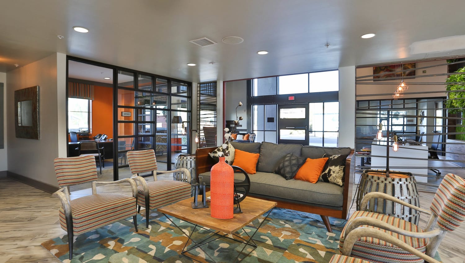 Great places to relax and get to know your neighbors in the clubhouse at Olympus Steelyard in Chandler, Arizona