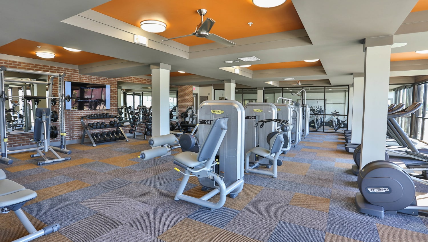 Wide variety of exercise machines in the fitness center at Olympus Steelyard in Chandler, Arizona