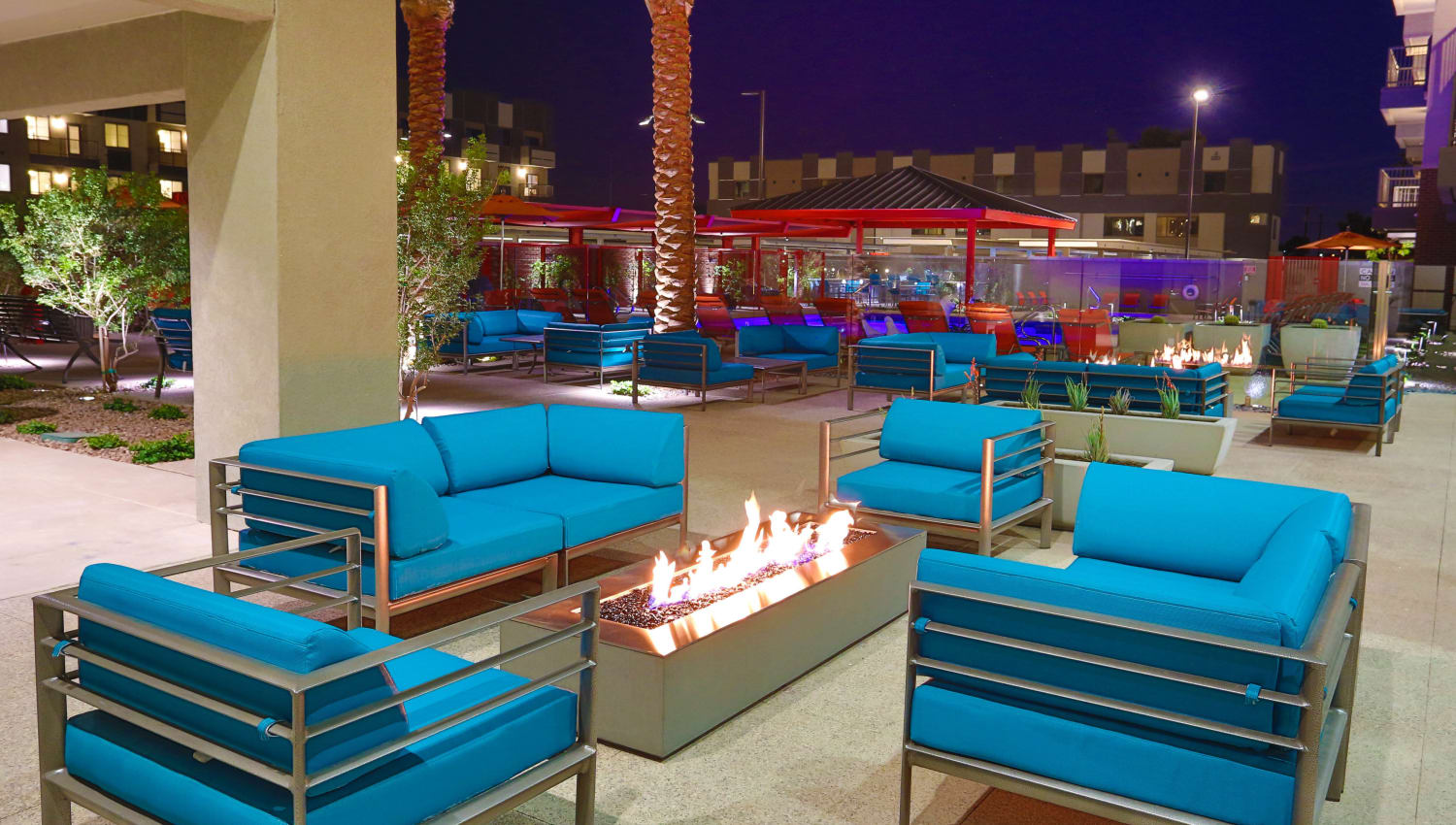 Comfortable chairs at the fire pit at Olympus Steelyard in Chandler, Arizona