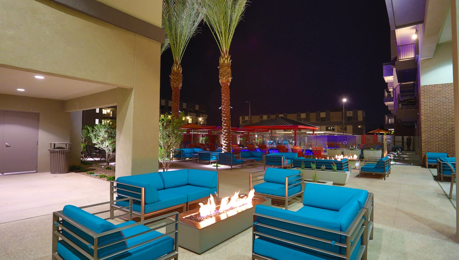 Fire pit lounge area at Olympus Steelyard in Chandler, Arizona