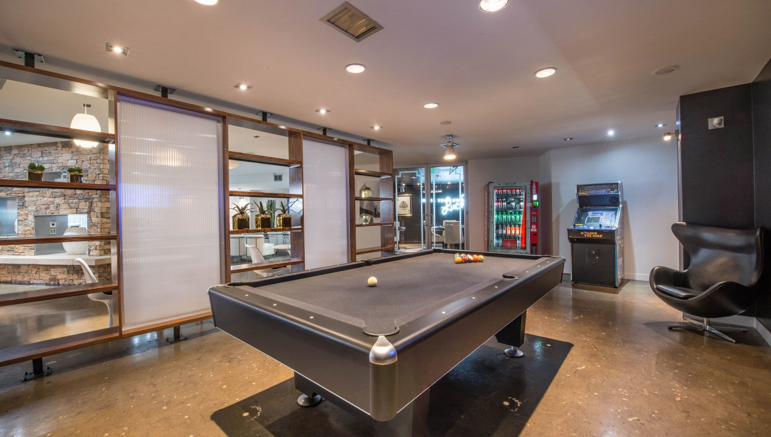 Pool table in clubhouse at Mosaic Dallas in Dallas, Texas