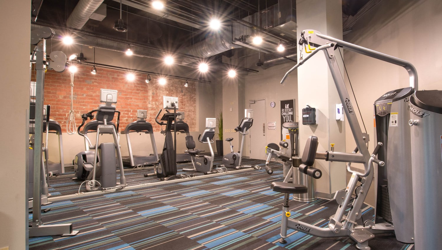 Fitness center at Mosaic Dallas in Dallas, Texas