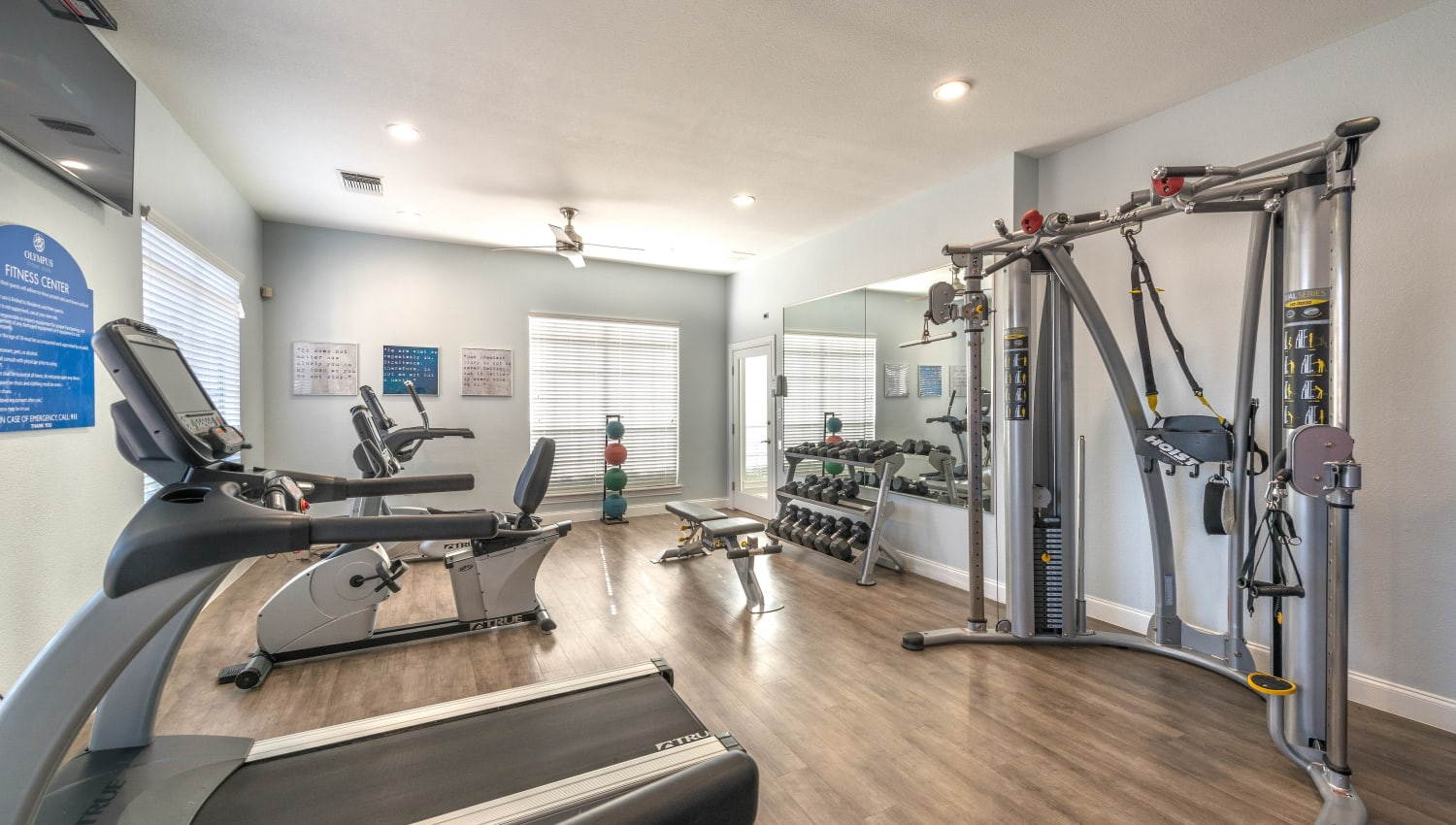 Ample cardio equipment in the fitness center at Olympus Stone Glen in Keller, Texas