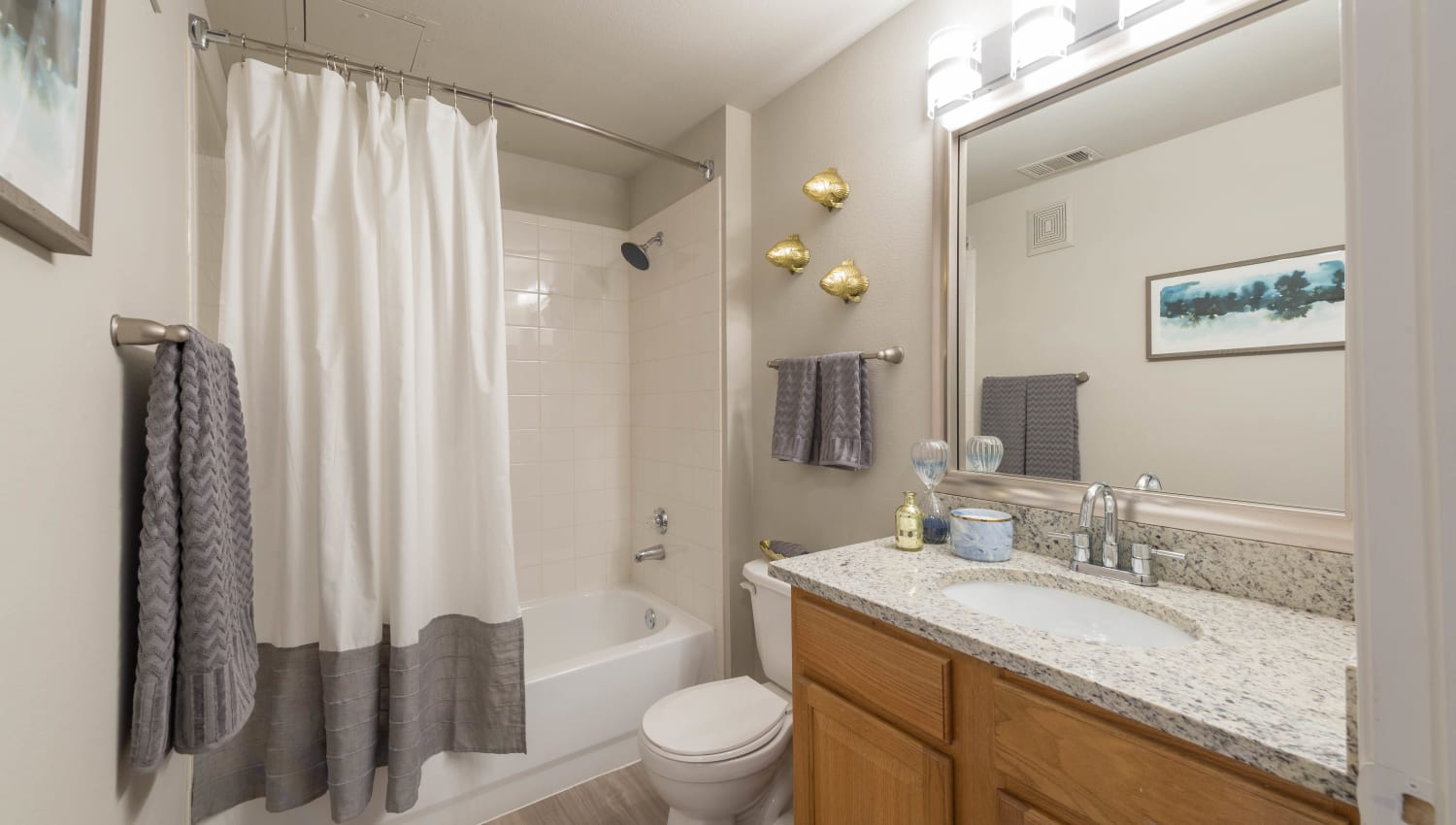Tiled shower and a granite countertop in a model apartment's bathroom at Olympus Stone Glen in Keller, Texas