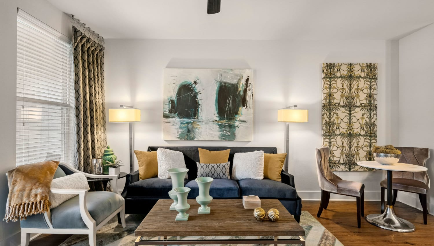 Living room at Olympus Grand Crossing in Katy, Texas