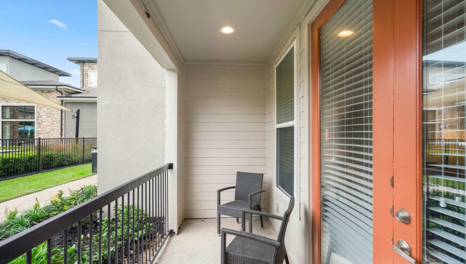 Private patio at Olympus Grand Crossing in Katy, Texas