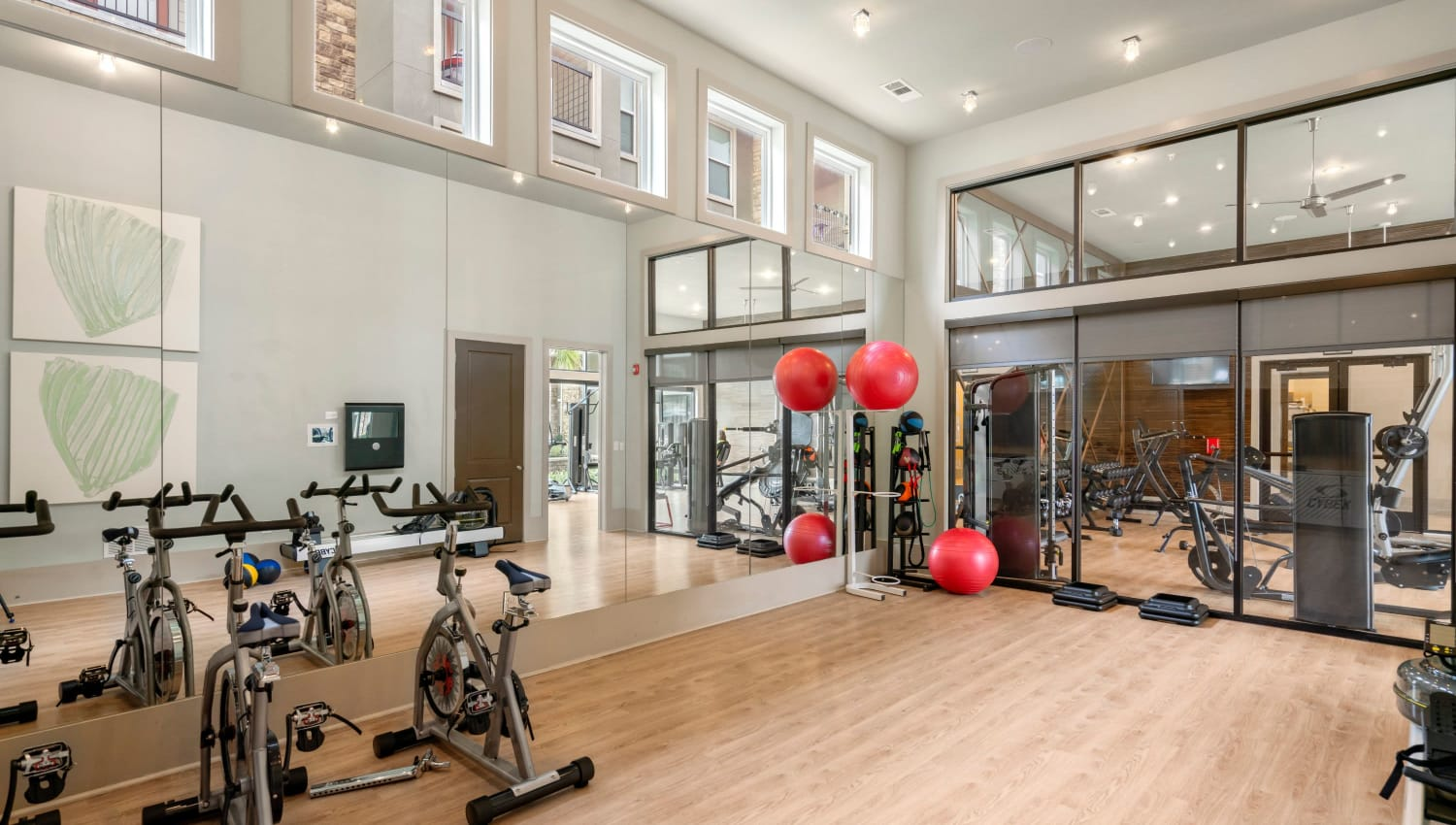 Yoga and spin studio at Olympus Grand Crossing in Katy, Texas