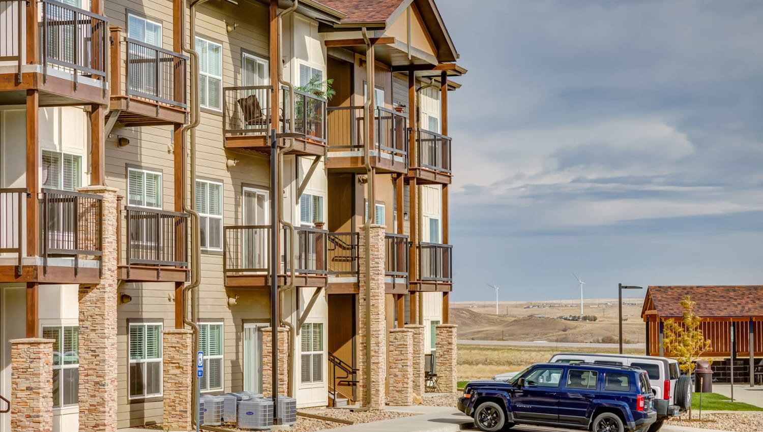 Plenty of parking outside resident buildings at Granite 550 in Casper, Wyoming