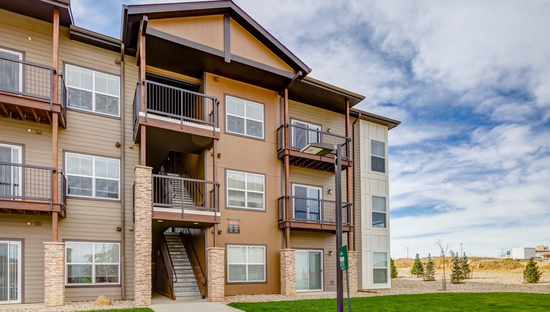 Green grass outside resident buildings at Granite 550 in Casper, Wyoming