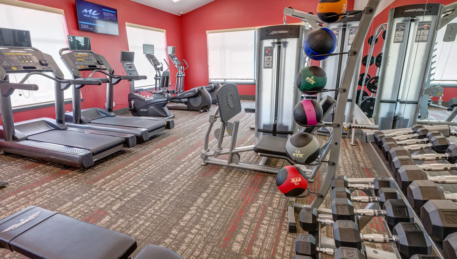 Free weights and more in the fitness center at Granite 550 in Casper, Wyoming