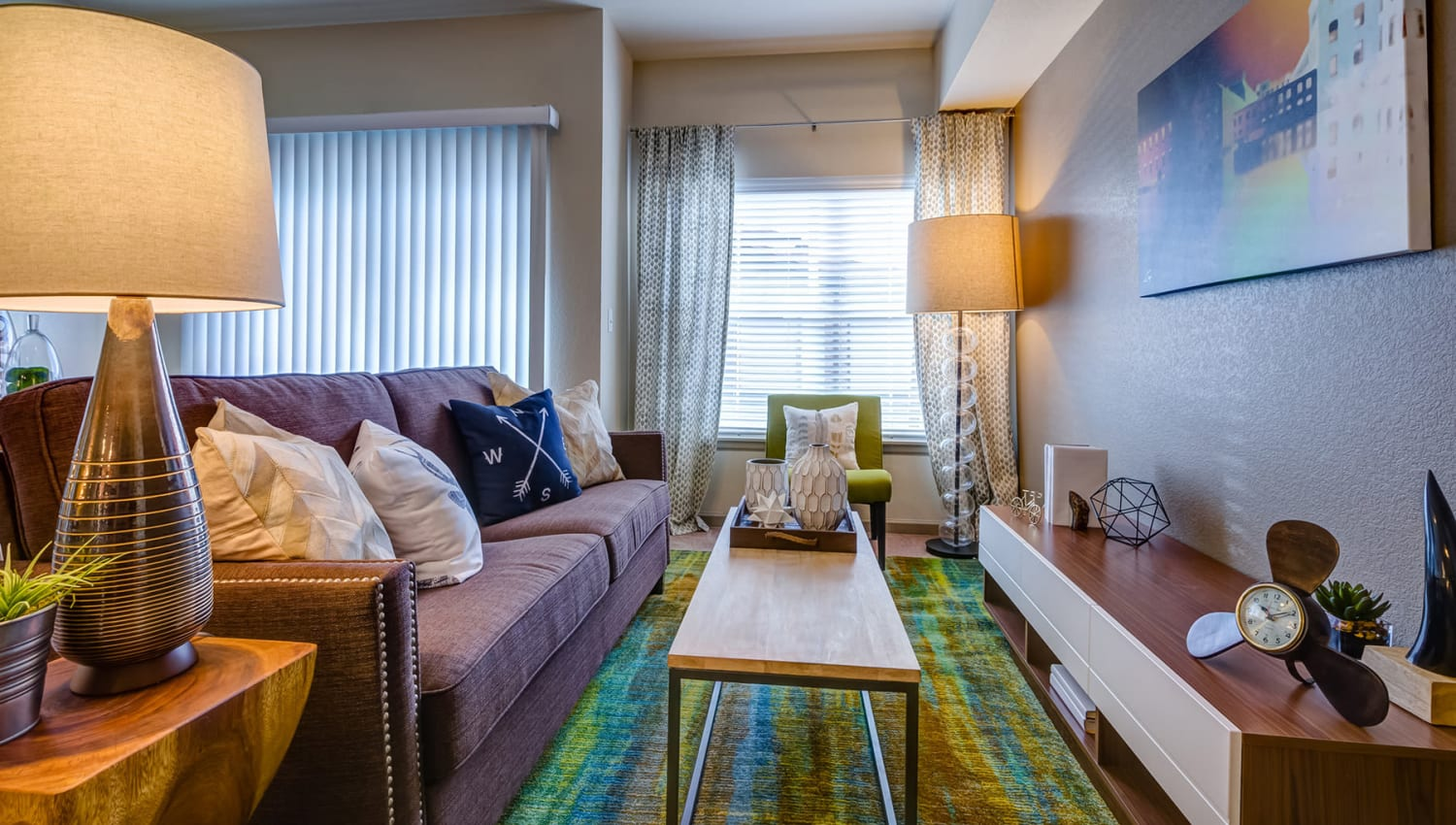 Well-furnished model apartment's living area at Granite 550 in Casper, Wyoming