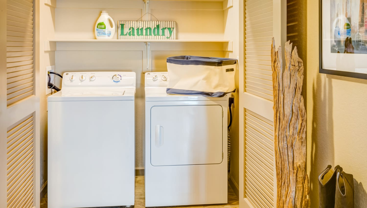 Full-size washer and dryer in a model home at Granite 550 in Casper, Wyoming
